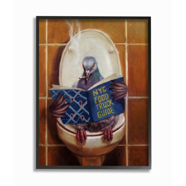 11 in. x 14 in. ''Pigeon Smoking on the Toilet Reading Funny Painting'' by Duy Huynh Framed Wall Art