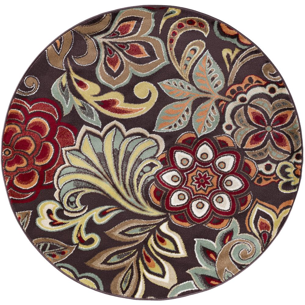 Tayse Rugs Deco Brown 5 ft. 3 in. Transitional Round Area Rug
