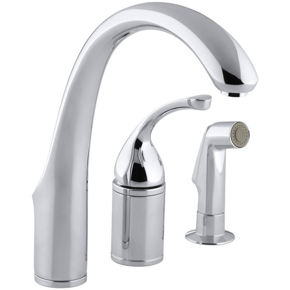 KOHLER Forte Single-Handle Standard Kitchen Faucet with Side Sprayer in Polished Chrome