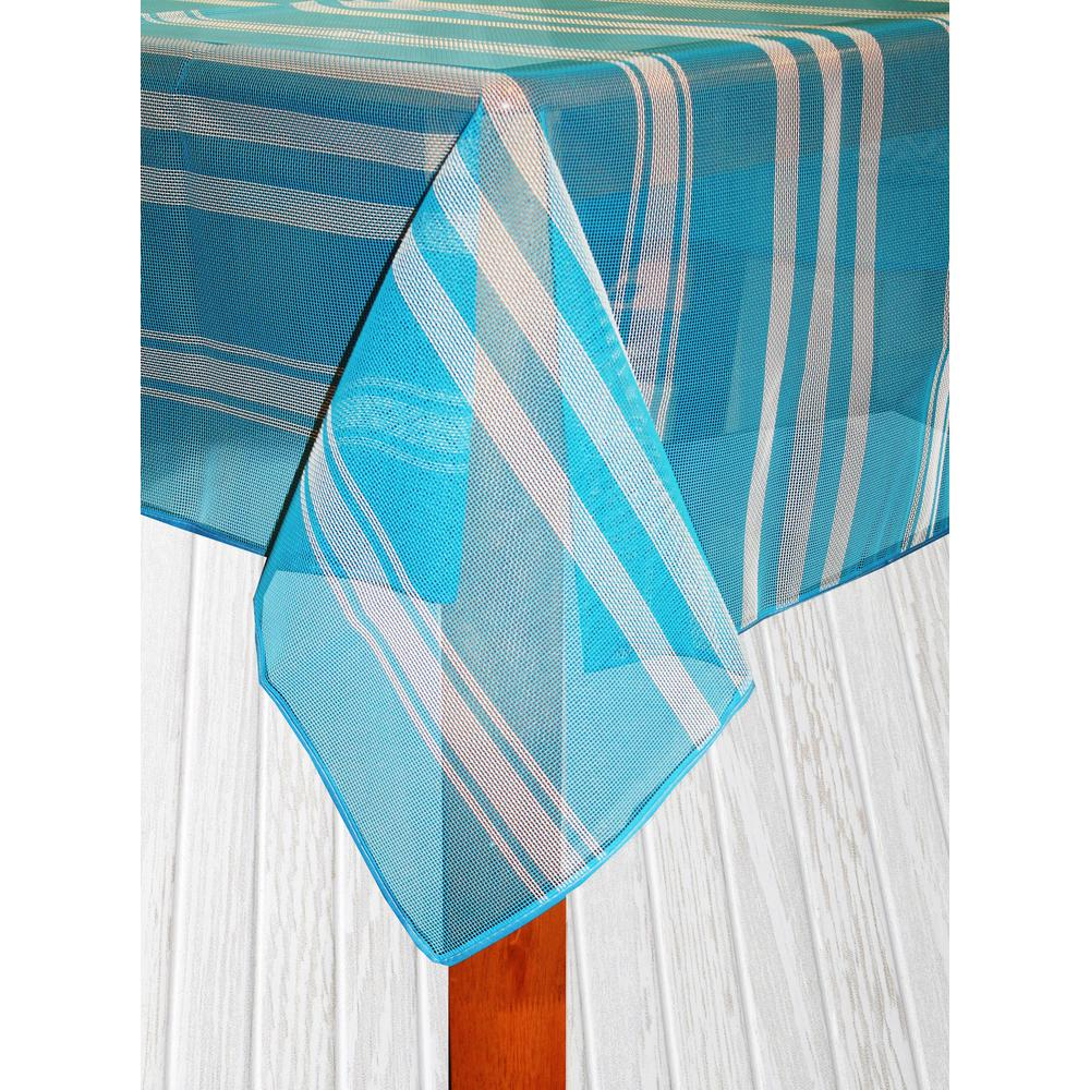 Lintex Bistro Stripe 70 in. Round Blue Vinyl and Poly Tab...