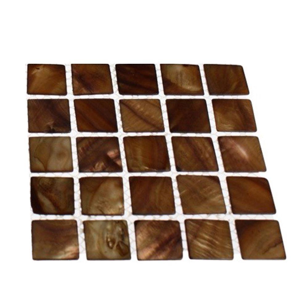 Splashback Tile Mother of Pearl Tiger Eye Pearl Glass Tile - 3 in. x ...
