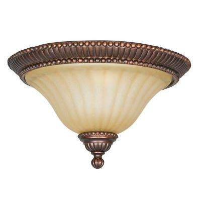 Hazelwood 2-Light Mahogany Brass Flush Mount
