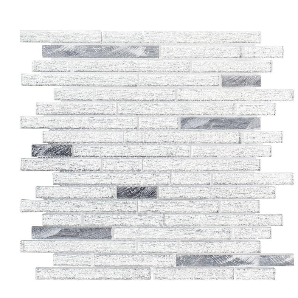 Jeffrey Court Ice Pencil 11.5 in. x 11.875 in. x 8 mm Glass/Metal Mosaic Tile