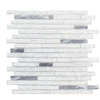 Ice Pencil 11.5 in. x 11.875 in. x 8 mm Glass/Metal Mosaic Tile