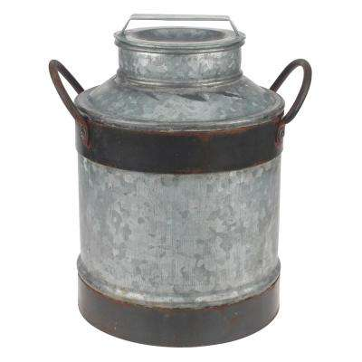 8 in. x 12 in. Aged Galvanized Milk Can