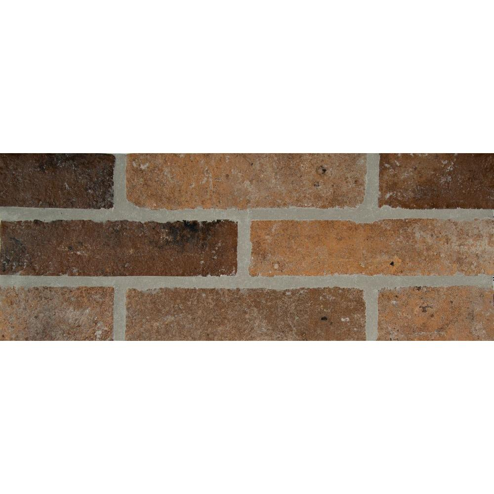 Rustico brick 2 1 3 in x 10 in glazed porcelain floor and wall tile 4 48 sq ft case