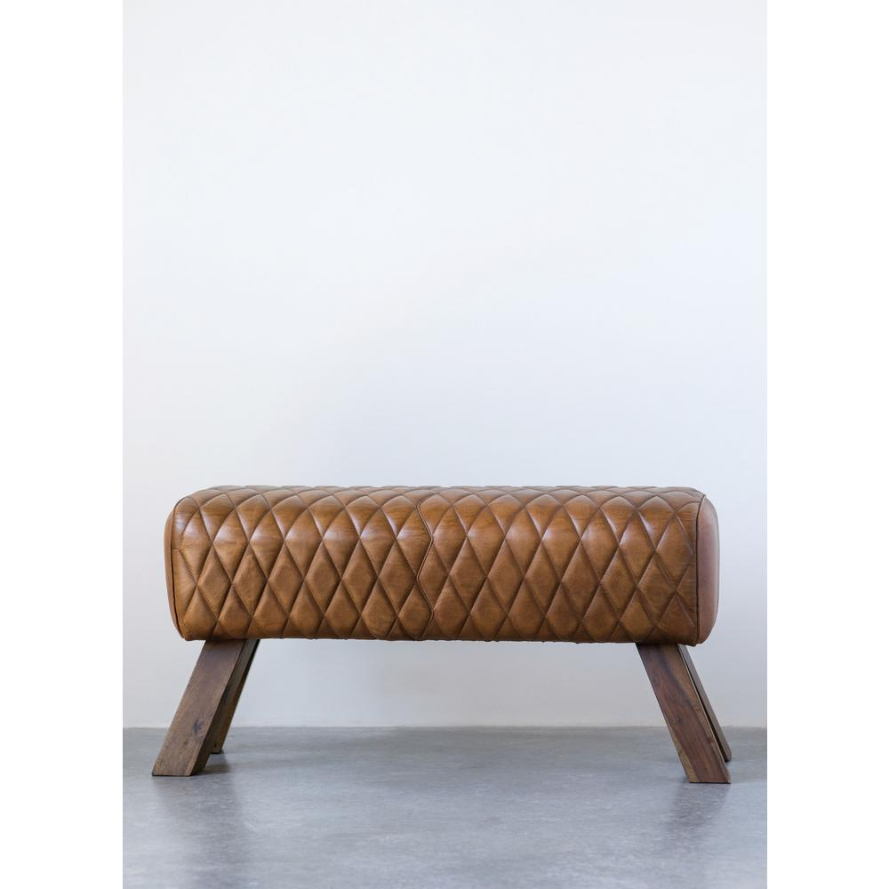 Pleasing Brown Stitched Leather And Wood Bench Ncnpc Chair Design For Home Ncnpcorg