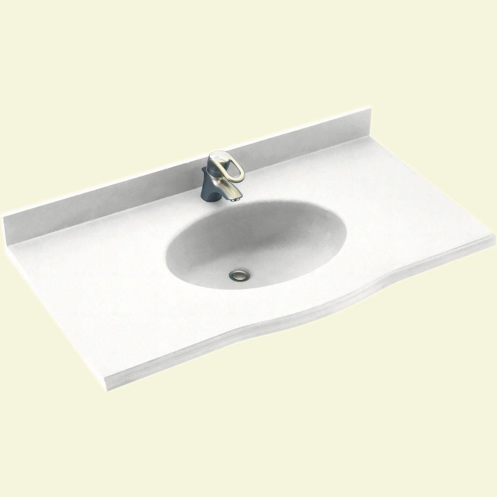 Swanstone Europa 43 in. Solid Surface Vanity Top with Basin in Tahiti White-DISCONTINUED