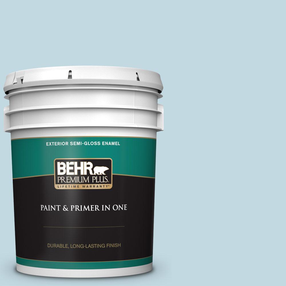 Behr Premium Plus 5 Gal S480 1 Rain Dance Semi Gloss Enamel Exterior Paint And Primer In One 505005 The Home Depot