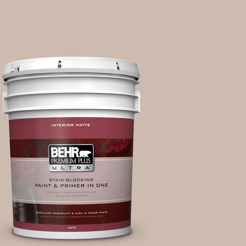 BEHR Premium Plus Ultra 5 gal. #N190-3 Windrift Beige Matte Interior Paint and Primer in One
