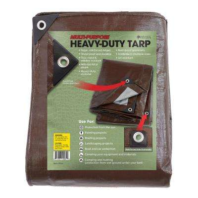 12 ft. x 20 ft. Heavy-Duty Brown/Silver Reversible Poly Tarp 10 mil