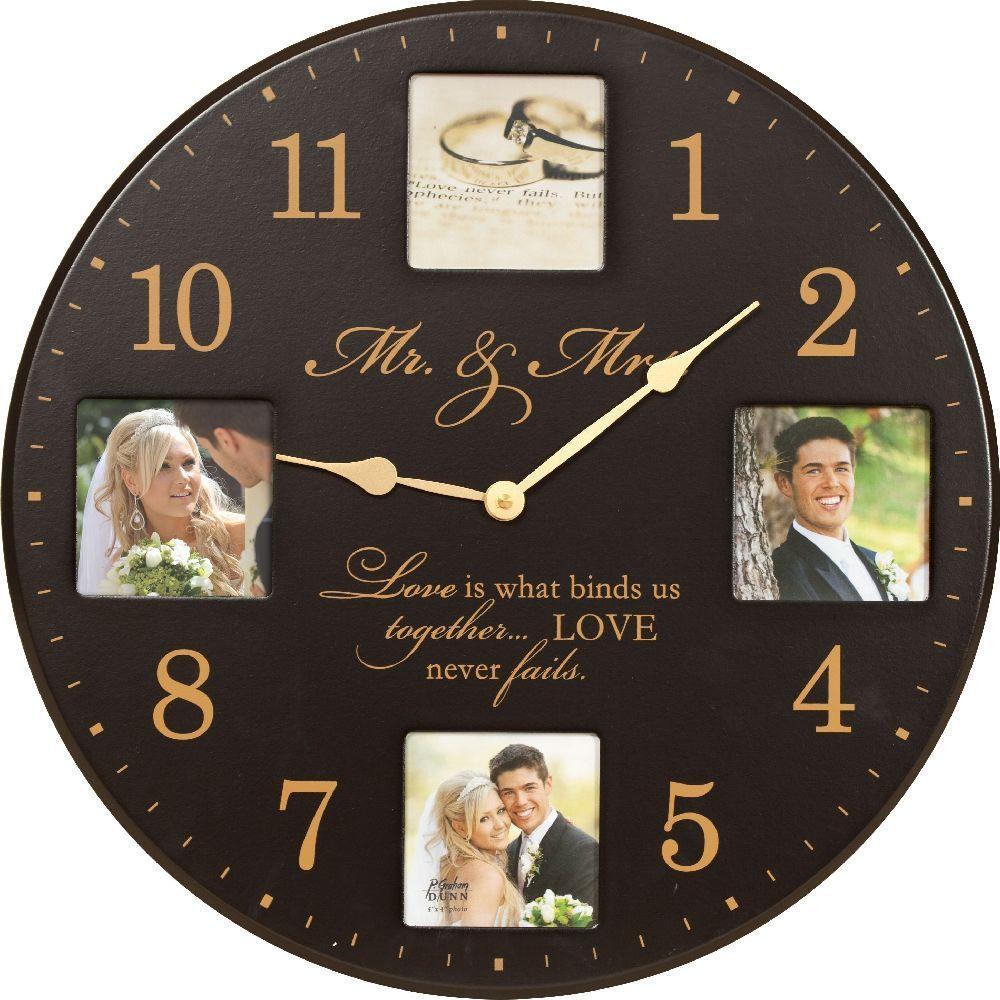 P. Graham Dunn Mr. & Mrs. 17 in. Black Circular Wood Clock with Photo Frames