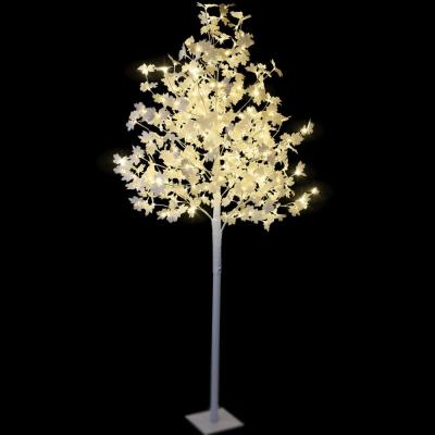 8 ft. Pre-Lit Maple Tree with White Leaves and 264 Warm White and Clear White Lights