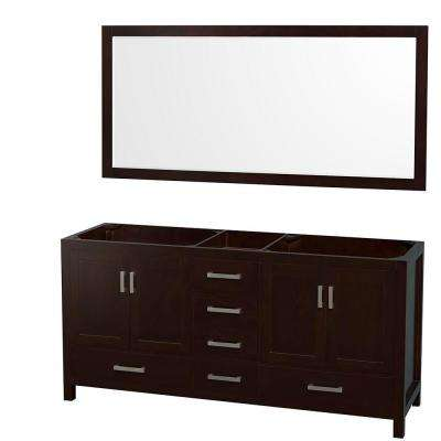 Sheffield 72 in. Double Vanity Cabinet with 70 in. Mirror in Espresso