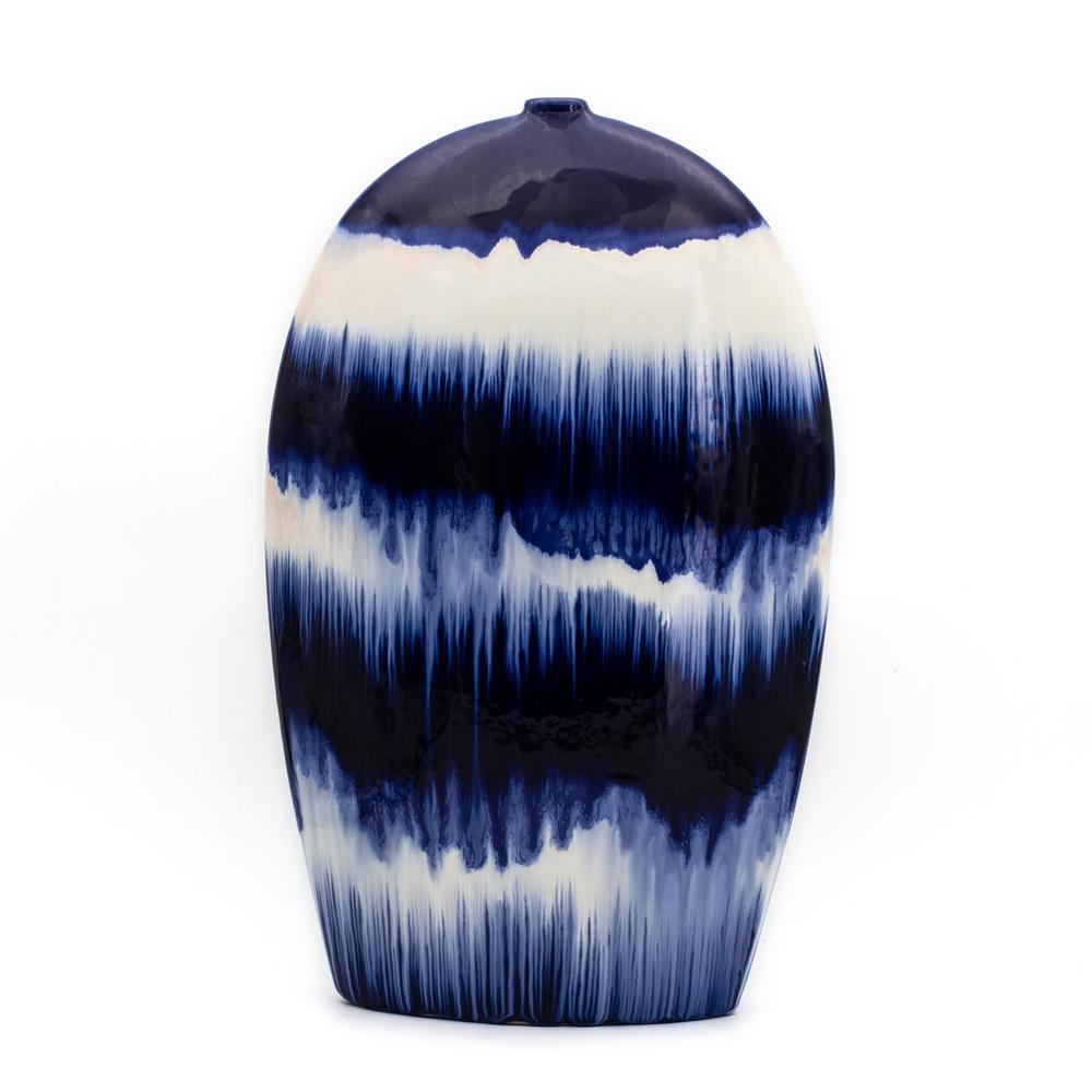 Fusion Cobalt Drip Flat Oval Vase