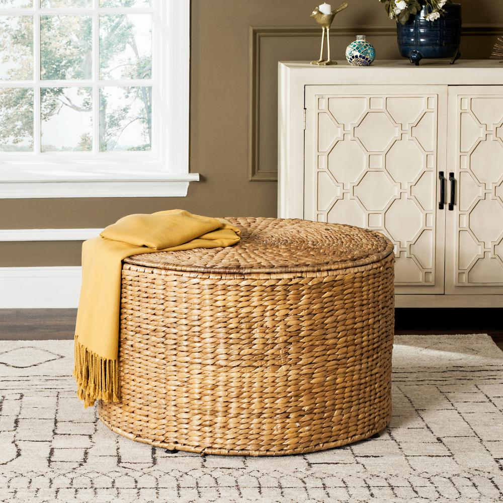 Superbe Safavieh Jesse Wicker Storage Natural Coffee Table SEA7034A   The Home Depot
