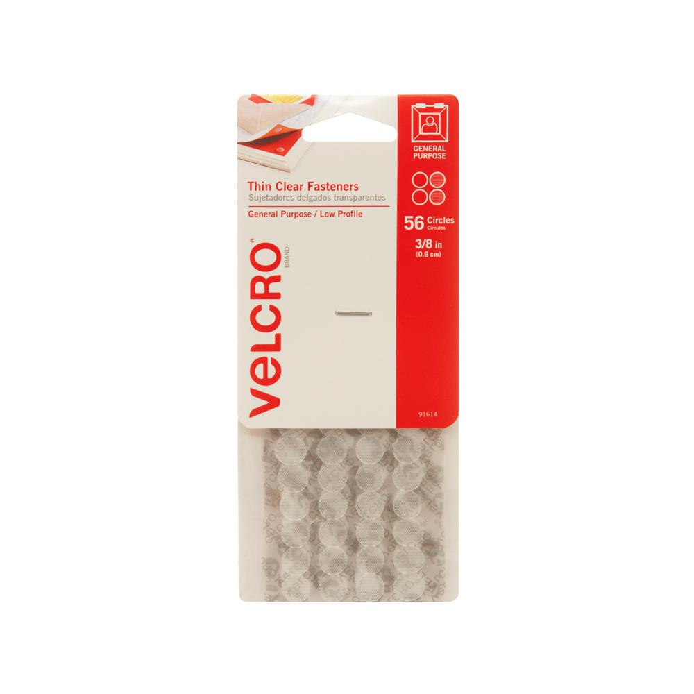 VELCRO Brand 3/8 in. Thin Clear Fasteners (56-Pack)
