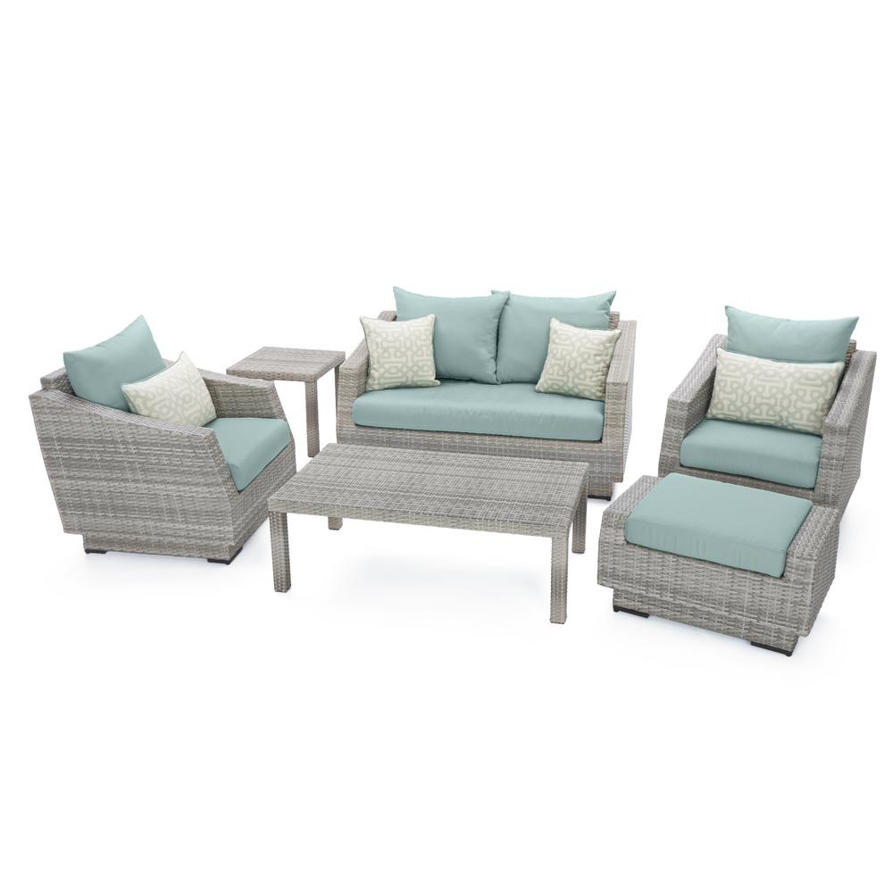 RST Brands Cannes 6-Piece All-Weather Wicker Patio Love and Club Seating Set with Spa Blue Cushions