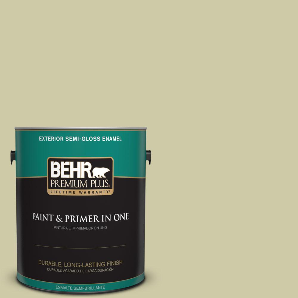 BEHR Premium Plus 1-gal. #ICC-58 Crisp Celery Semi-Gloss Enamel Exterior Paint