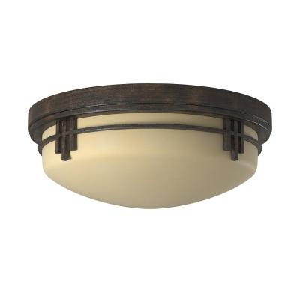 Mission Ridge 2-Light Warm Mahogany Flush Mounted Ceiling Light
