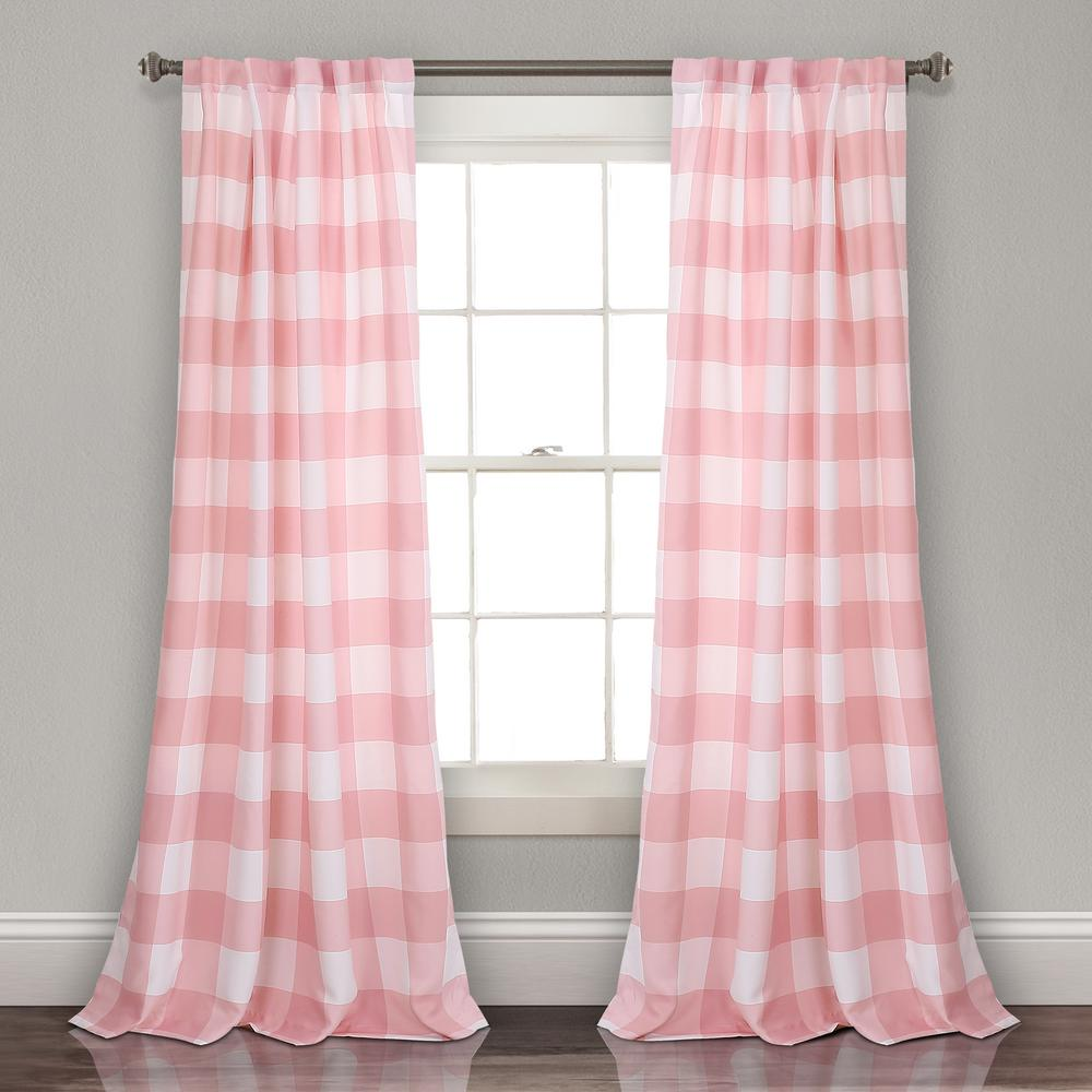 Kelly Checker Juvy Window Panel Pink 84 X 52 2 Pc Set 100 Polyester