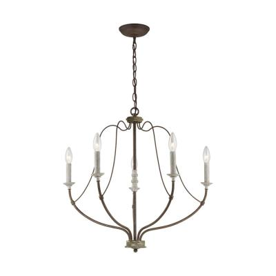Nadia 26 in. 5-Light Distressed White Wood and Weathered Iron Candle Chandelier