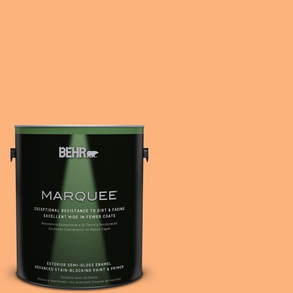1-gal. #P220-5 Fuzzy Peach Semi-Gloss Enamel Exterior Paint