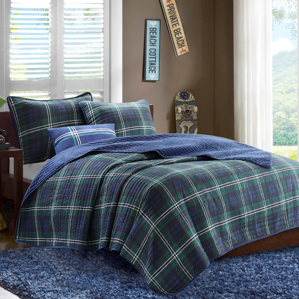 Cameron 4-Piece Blue Full/Queen Plaid Coverlet Quilt Set