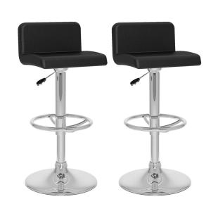 Adjustable Black Leatherette Low Back Bar Stool (Set of 2)