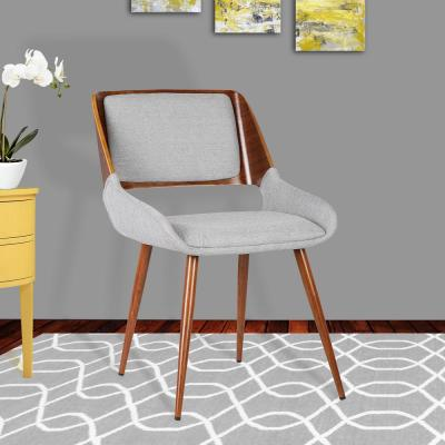 Panda 31 in. Gray Fabric and Walnut Wood Finish Mid-Century Dining Chair