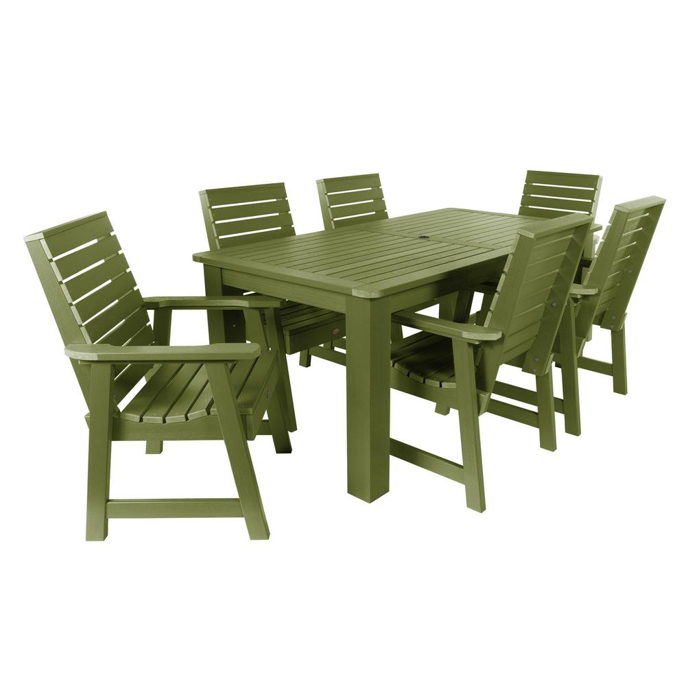 Highwood Weatherly Dried Sage 7-Piece Recycled Plastic Rectangular Outdoor Dining Set