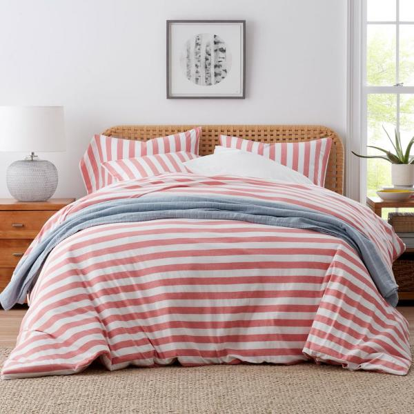 The Company Store Awning Stripe Space Dye Coral Jersey Knit Queen Duvet Cover