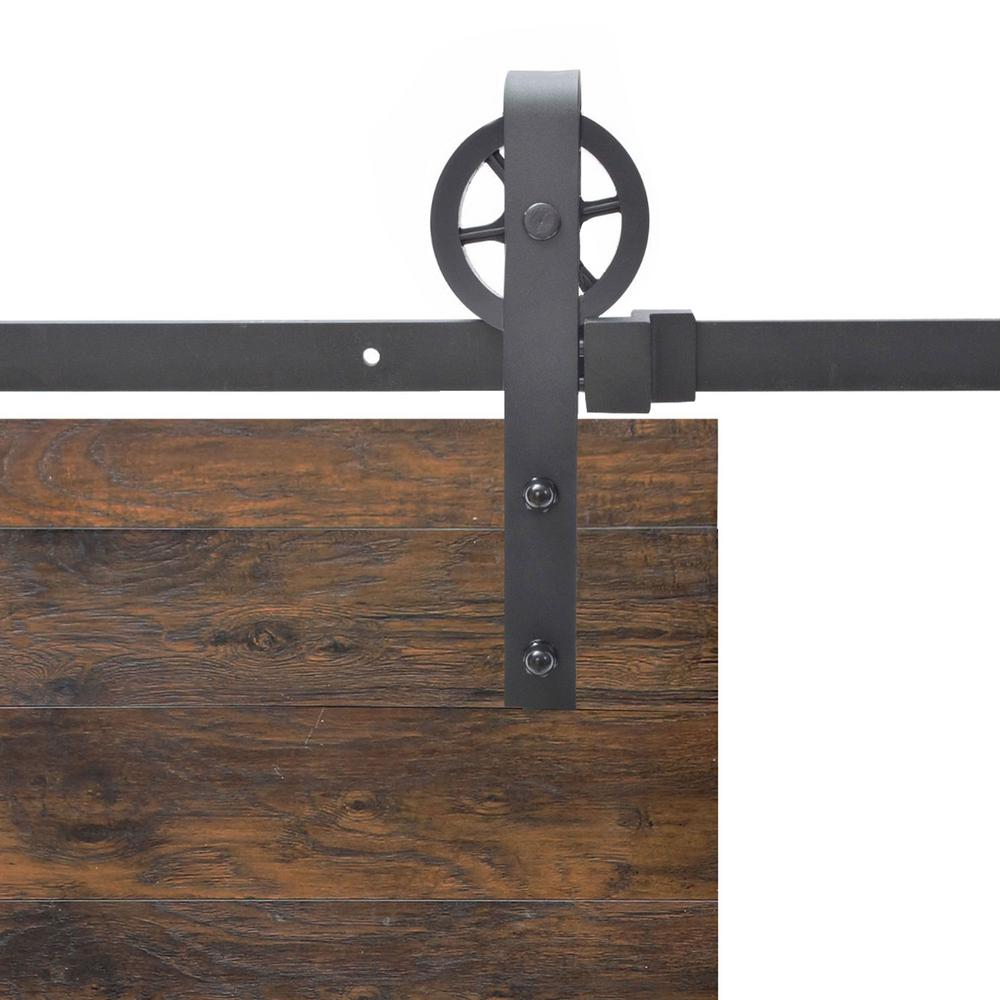 Calhome vintage strap industrial wheel steel sliding barn wood door hardware sdh b01n1s k 8ft Barn door track hardware home depot