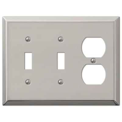Metallic 3 Gang 2-Toggle and 1-Duplex Steel Wall Plate - Polished Nickel