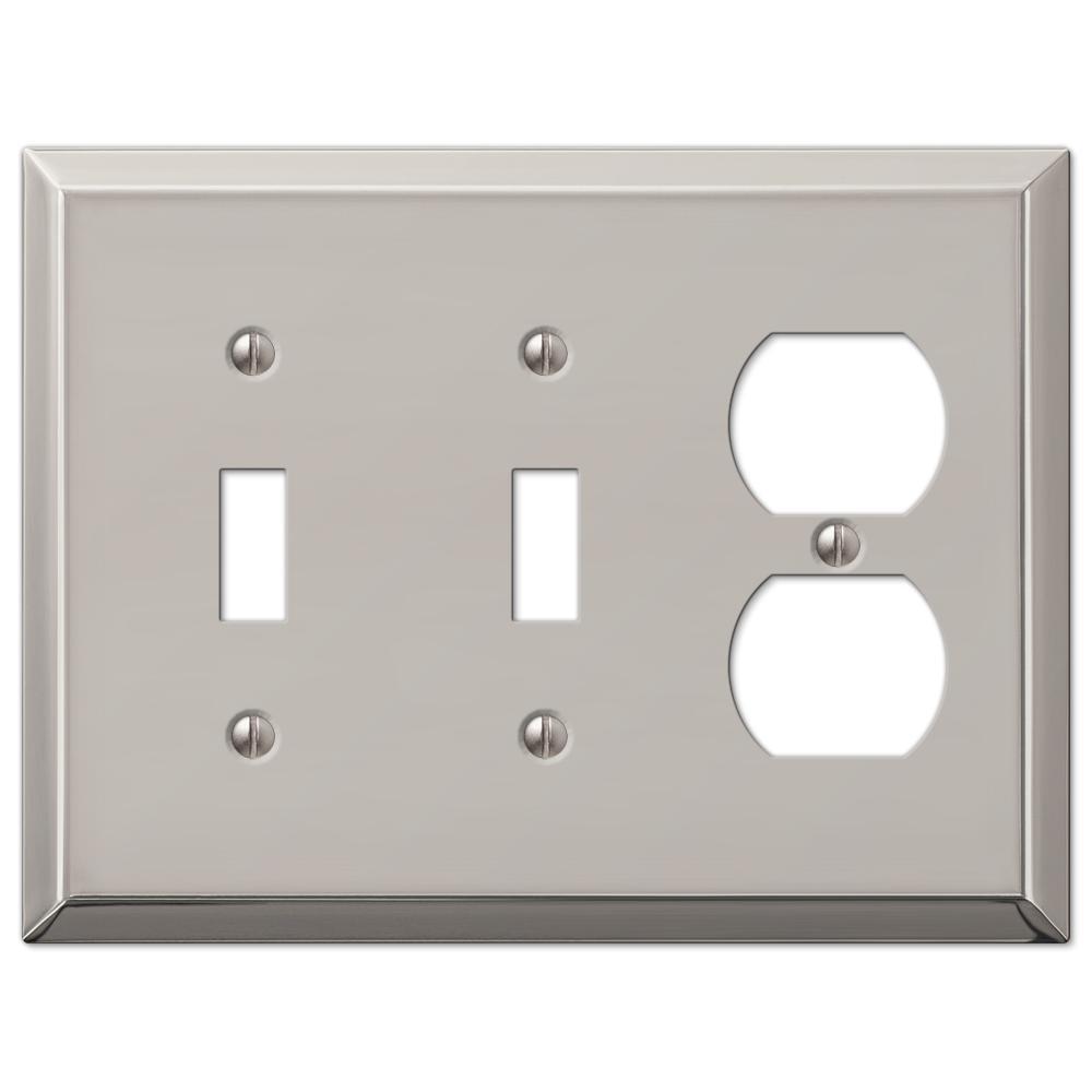 Metallic 3 Gang 2-Toggle and 1-Duplex Steel Wall Plate - Polished Nickel
