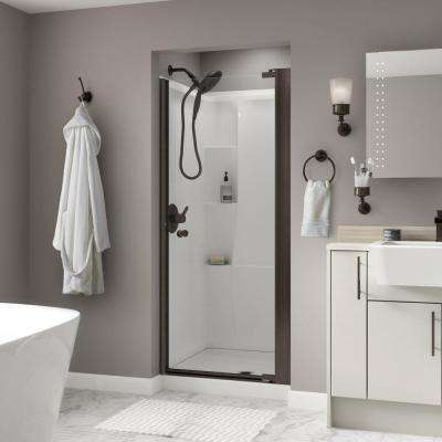 Silverton 36 in. x 64-3/4 in. Semi-Frameless Contemporary Pivot Shower Door in Bronze with Clear Glass