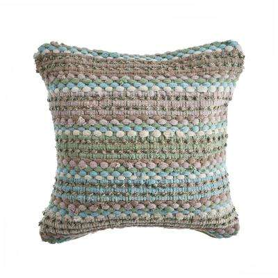 Loop Green / Blue 18 in. x 18 in. Decorative Throw Pillow