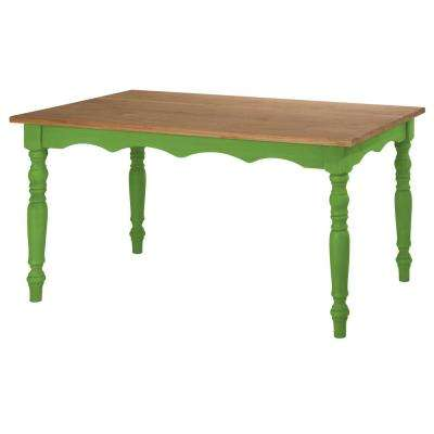 Jay 59.84 in. Green Wash Solid Wood Dining Table