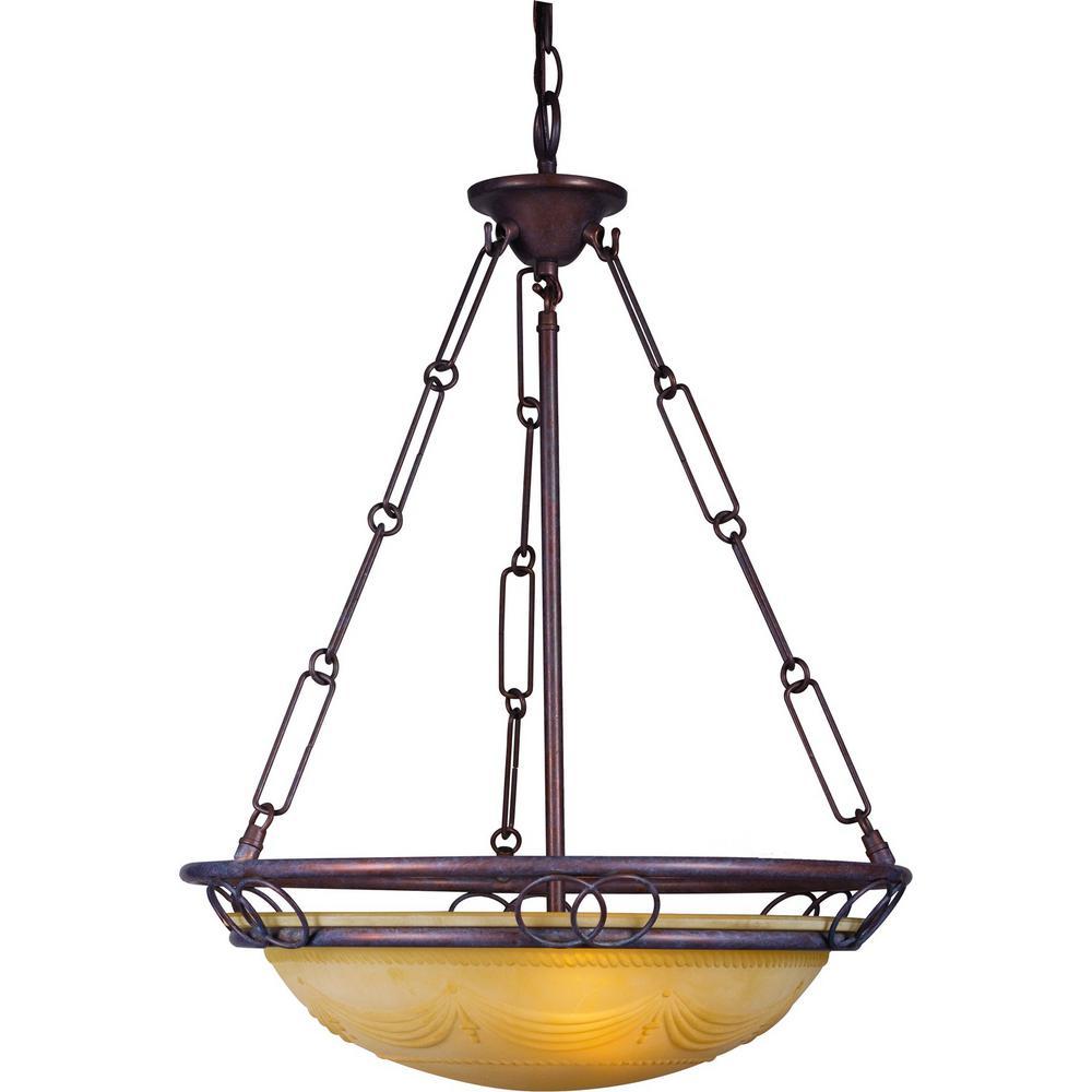 Kuta 3-light Prairie Rock Bowl-Shaped Pendant