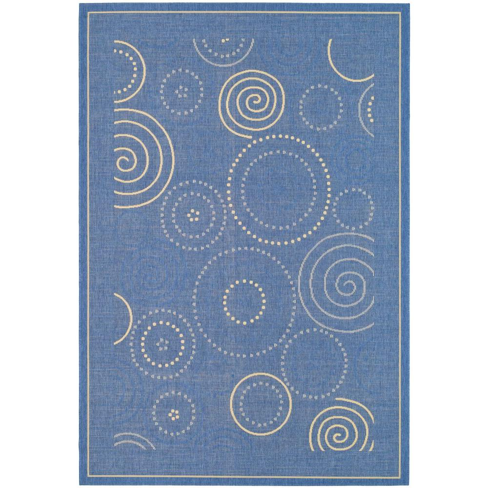 Courtyard Blue/Natural 6 ft. 7 in. x 9 ft. 6 in.