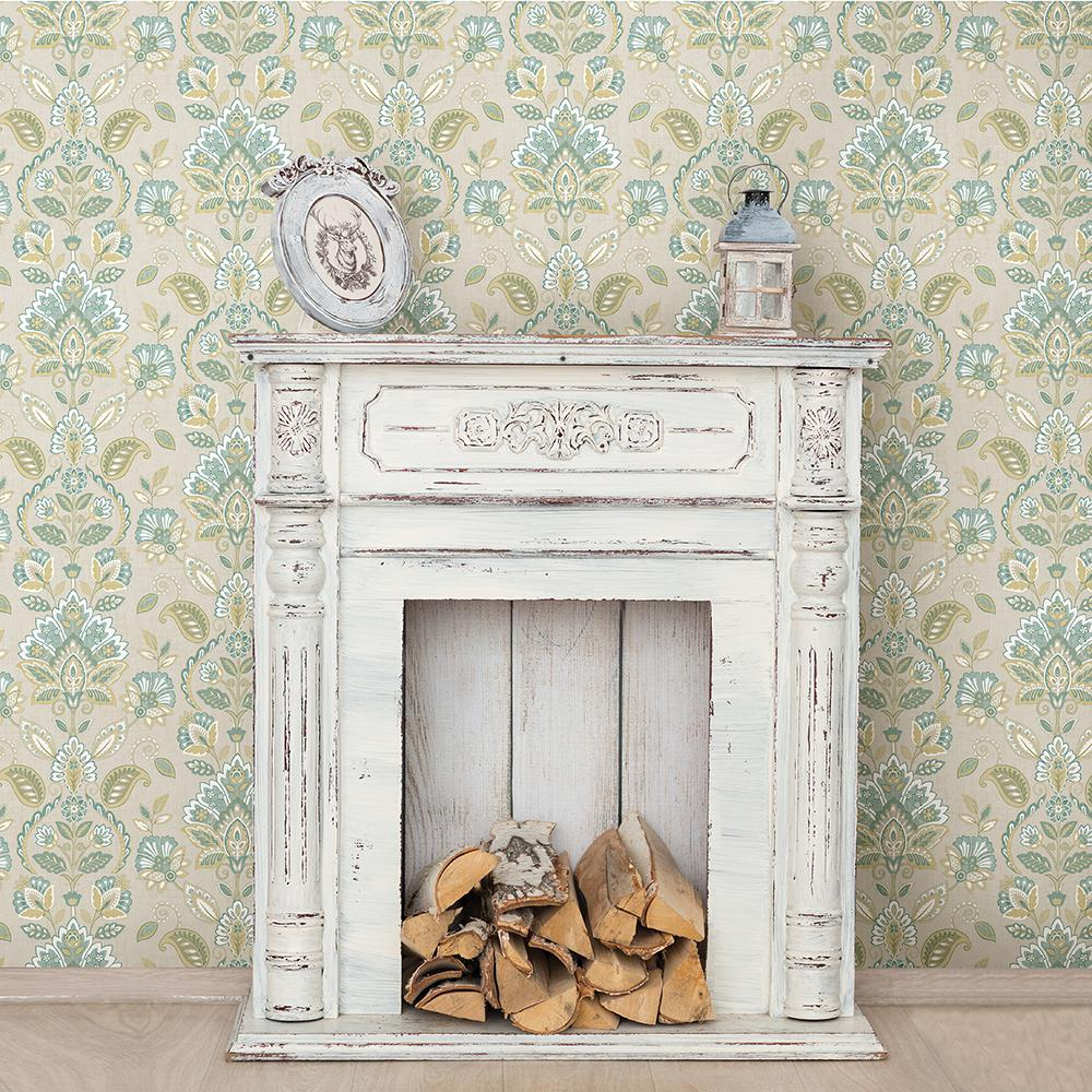 Chesapeake Rayleigh Teal (Blue) Floral Damask Wallpaper