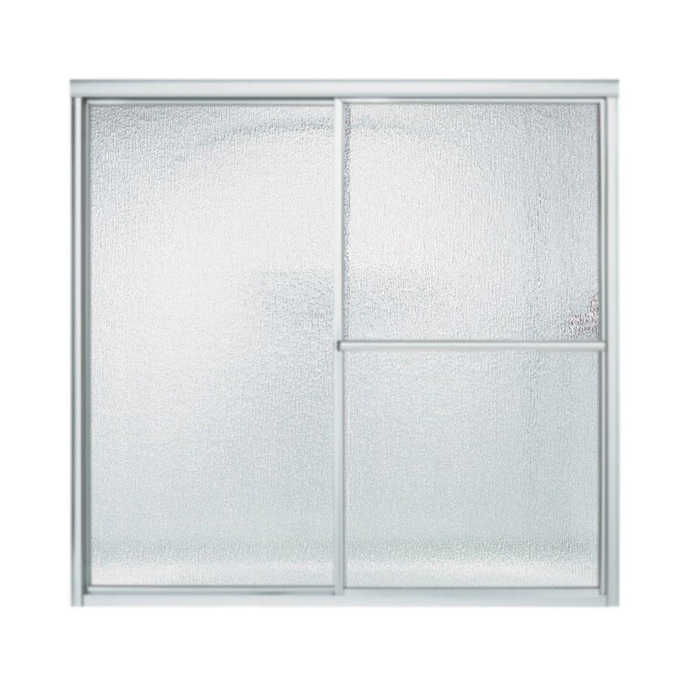STERLING Deluxe 59-3/8 in. x 56-1/4 in. Framed Sliding Bathtub Door in Matte Silver with Rain Glass Texture