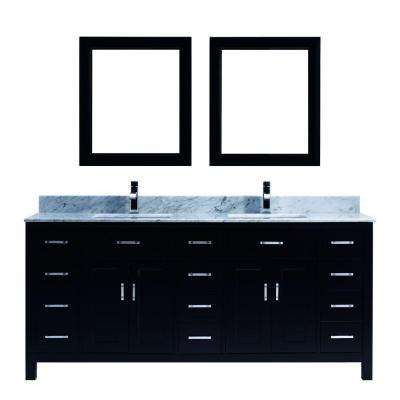 Kalize 75 in. Vanity in Espresso with Marble Vanity Top in Carrara White and Mirror