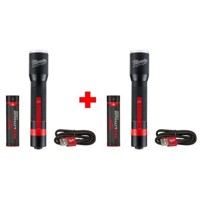 700 Lumens LED Rechargeable Aluminum Flashlight (2-Pack)