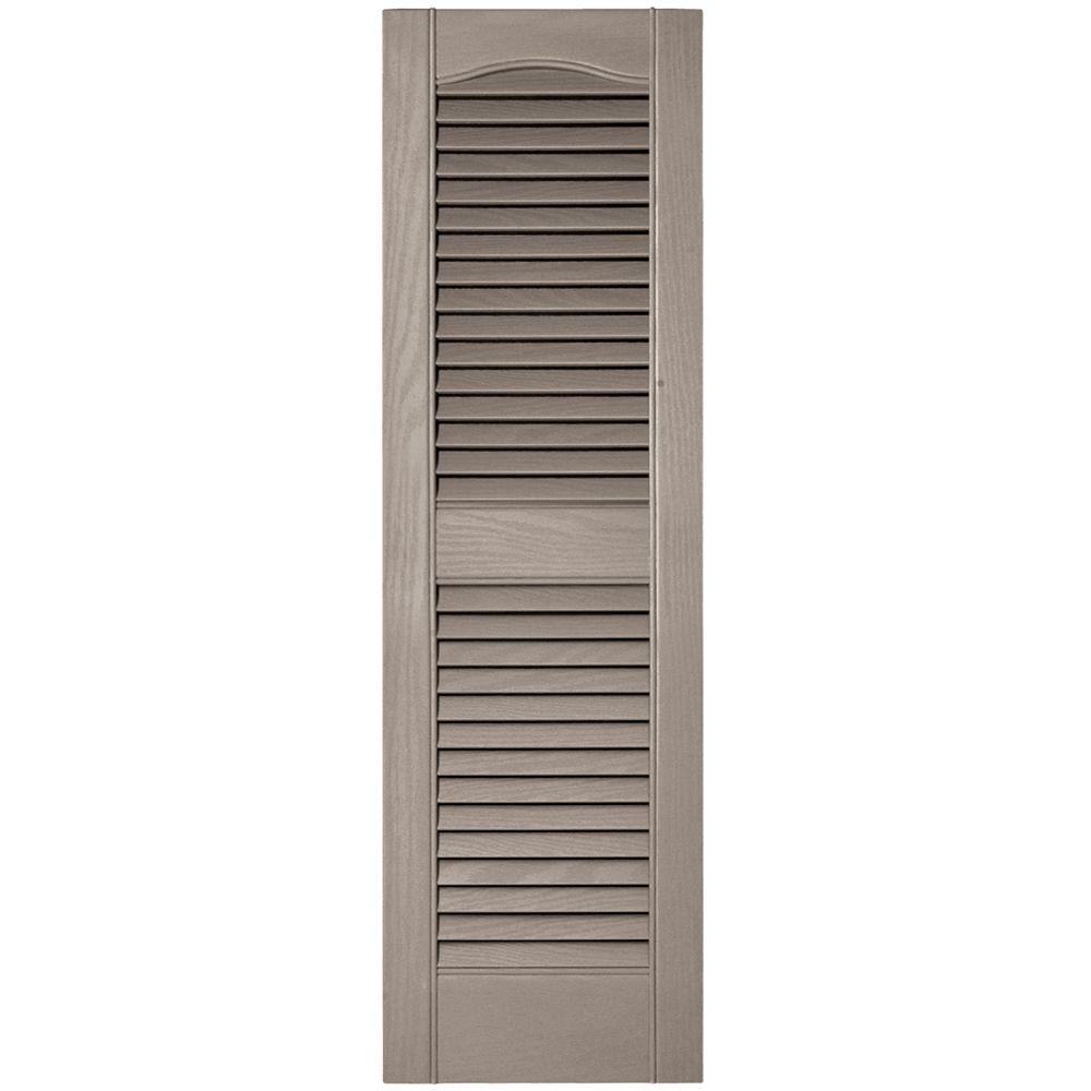 12 in. x 39 in. Louvered Vinyl Exterior Shutters Pair in