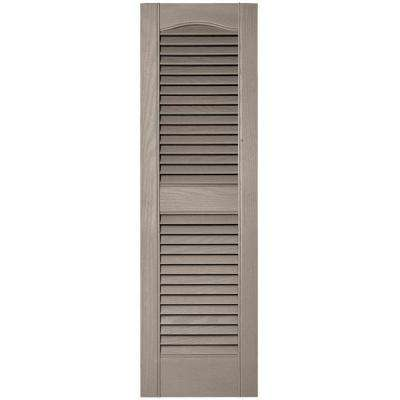 12 in. x 39 in. Louvered Vinyl Exterior Shutters Pair in #008 Clay