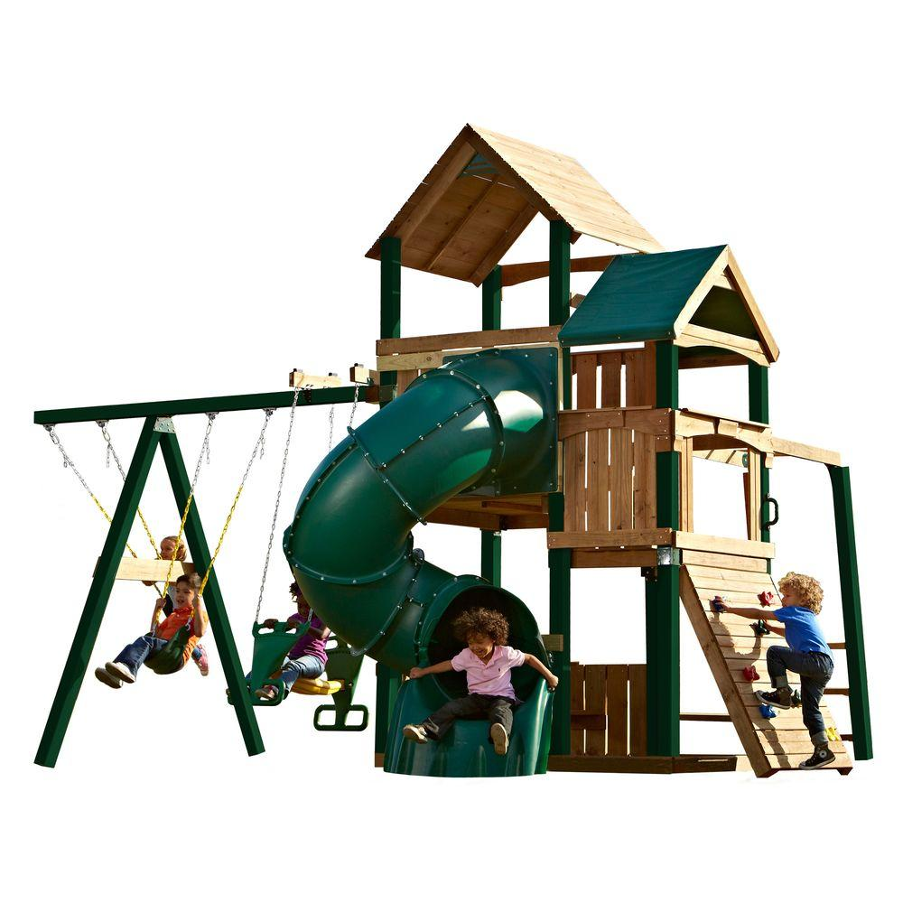 Swing-N-Slide Playsets Sky Tower Turbo RT Play Set with Tuff Wood and 5 ft. Turbo Tube Slide