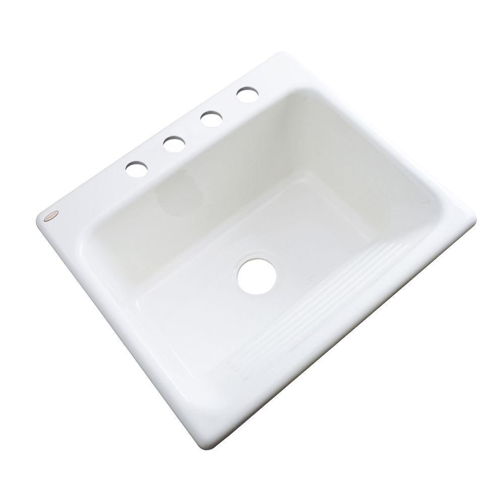 Kensington Drop-In Acrylic 25 in. 4-Hole Single Bowl Utility Sink in White
