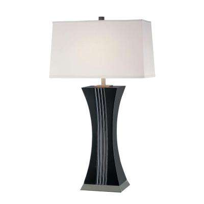 32 in. Walnut Table Lamp with White Cabretta