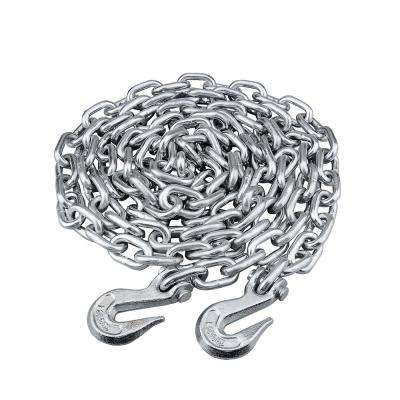 3/8 in. x 16 ft. Grade 43 High-Test Tow Chain with 3/8 in. Clevis Grab Hooks Zinc Plated Storage Pail